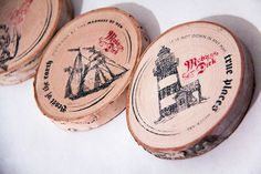 Moby Dick: book cover and print collateral on Behance #stamps #coasters #moby #wood #dick #nautical