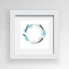 Framed Artwork 'Circle of Feathers in Blues' 30cm x 30cm