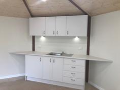 Yurt interior kitchenette