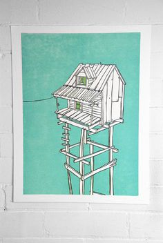Neighbors No. 2 Camp Nevernice #print #poster #linoblock