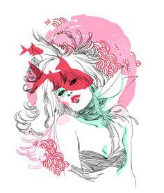 Flower Women #pink #illustration #sauvage #marguerite
