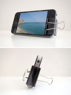 iPhone stand from a clip.