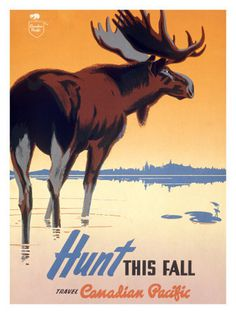 Canadian Pacific Hunt Big Game Poster #travel #illustration #vintage #poster #canadiana