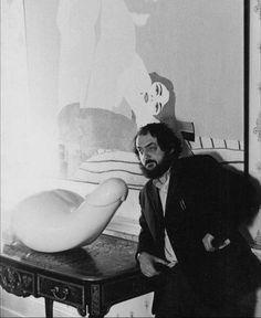 Stanley Kubrick on the set of A Clockwork Orange (1971)
