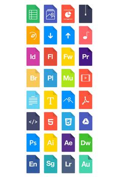 Flat File Types Icons PSD