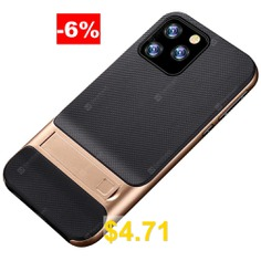 Naxtop #2 #in #1 #Soft #TPU #Hard #PC #Plaid #Bracket #Mobile #Phone #Case #for #iPhone #11 #Pro #Max #/ #11 #Pro #/ #11 #- #GOLD