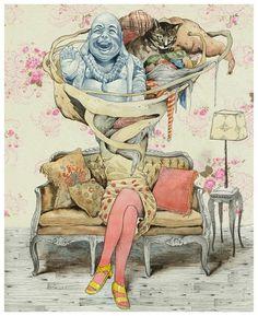 ilustracikjhiqon..,... on the Behance Network #sofa #woman #ligay #dmitry #living #cat #buddha #illustration #room