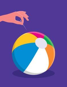 Pin bursting beach ball