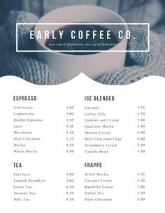 White Coffee Photo Simple Drink Menu