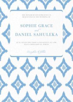 Subtle Blue Ikat - Wedding Invitations  #paperlust #wedding #invitation #weddinginvitation #weddinginspiration #paper #design #blue #ikat