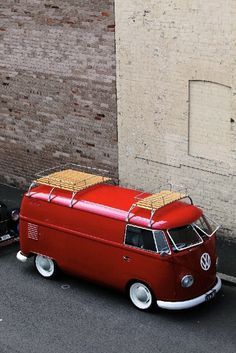 VW, bus, red, vintage, clean, simple. rack