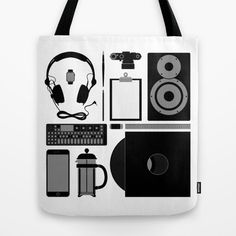 Objects Tote Bag at Søciety6 #leica #vinylrecord #camera #speaker #headphones #op1 #frenchpress #applewatch #pencil #brush #rickardarvius