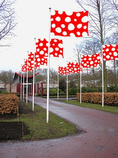 experimental_jetset_white_dots1 #red #white #installation #flag #polkadot #pois