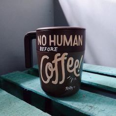 No Human Before Coffee #typography #lettering #handlettering #kallos