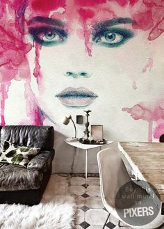 The explosion of passion #interior design #architecture #watercolor #living room #wall mural #home decor