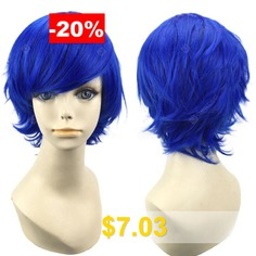 Short #Inclined #Bang #Straight #Synthetic #Cosplay #Wig #- #DEEP #BLUE