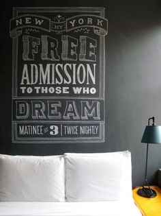 The Ace Hotel (NYC, room 1021) hand lettering by Dana Tanamachi