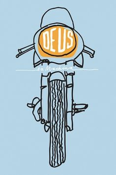 Deus Customs | Australia | Online Emporium of Goodness #illustration #blue #motorcycle #yellow #dues