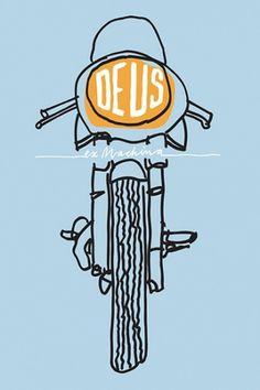 Deus Customs | Australia | Online Emporium of Goodness #illustration #blue #motorcycle #yellow #dues