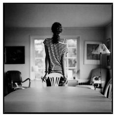 Photo by Per Forsberg #forsberg #girl #chair #living #striped #back #per #bw #room