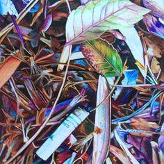 A Convenient Trashcan - Katie Melrose // colored pencils #cigarette #litter #nature #colored pencils #colors