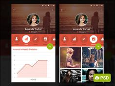 Profile Screen Apps PSD Template