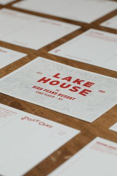 Post cards. #travel #map #hotel #branding #business card #lake house