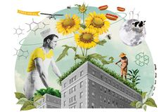 Sonia Roy, colagene.com #truck #city #photomontage #food #restaurant #illustration #sunflower #summer #flower #collage #editorial #magazine