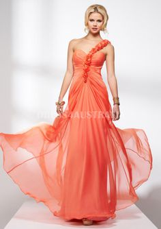 Apricot punch One Shoulder With Flowers Floor Length Evening Dress/ Prom Dresses By FIT P4608