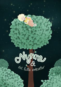 Michelle Carlslund Illustration: Nynne og det lille orkester #nynnedet #handlettering #tree #girl #nordic #danish #night #illustration #stars #scandinavian #lille #orkester #dark