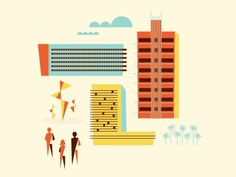 Dribbble - Art Miami by Brent Couchman #city #illustration #buildings