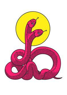 snake #pink #illustration #yellow #snakes
