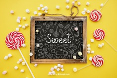 Birthday concept with slate Free Psd. See more inspiration related to Mockup, Birthday, Happy birthday, Party, Anniversary, Celebration, Happy, Candy, Chalkboard, Mock up, Decoration, Decorative, Celebrate, Birthday party, Sweets, Festive, Up, Lollipop, Birth, Happy anniversary, Concept, Slate, Annual, Composition and Mock on Freepik.