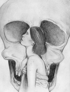 . #illustration #pencil #woman #skull
