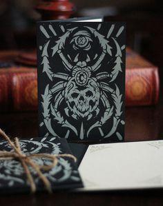 Spider card product #halloween #print #letterpress #spider #block #illustration