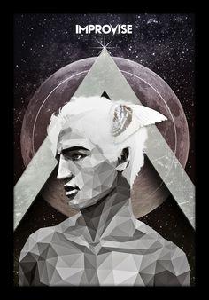 Zeitgeist Hermes by hassmework #man #triangulation #art #triangles