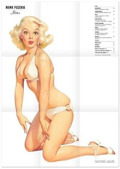 Mama Pizzeria #girl #menu #mama #pin #up #poster #pizza #pizzeria