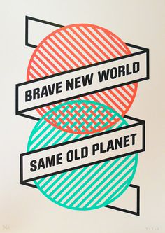 BRAVE NEW WORLD SAME OLD PLANET #self #illustration #portrait #screenprint