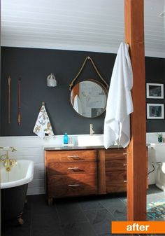 Before & After: An Outdated Master Bathroom Goes from Maroon to Modern! | Apartment Therapy #bathroom