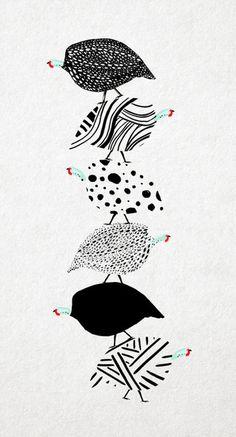 guinea fowl balancing act #pattern #stack #design #guinea #birds #illustration #balance #leriquiqui #fowl #art #animals #pen #drawing