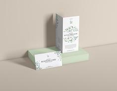 Free PSD Bi-Fold Brochure With Business Card Mockup