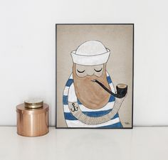 #nordic #design #illustration #danish #maritime #simple #blue #living #interior #kids #room #poster #sailor #stripes #man #pipe #beard