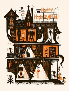 Lab Partners - Happy Halloween #illustration #house #halloween #ghost #lab partners #haunted