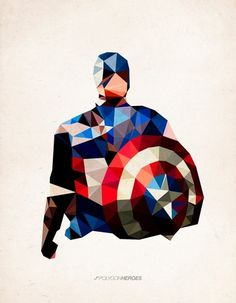 Polygon Heroes - Captain America Art Print by TheBlackeningCo | Society6 #design #illustration #man #captain america #superhero #heros #aven