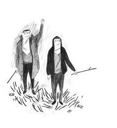 Rory Byrne #sticks #pencil #boys #drawing