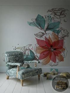 Flowers #interior design #art #flowers #wall mural #wall art #home decor
