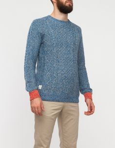 Contrast Cuff Cable Knit Blue #clothing #orange #sweater #blue #knit