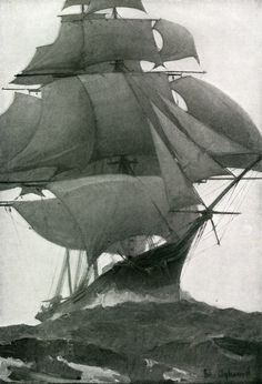 snowce, William Aylward #sails #ship #sea #boat #frigate #rigging #waves #masts