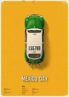 City Cab Poster by Mehmet Gozetlik | TrendLand: Fashion Blog & Trend Magazine #mexico #city #cab #poster