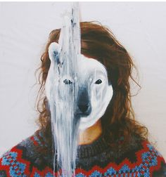 animal masks on photographic portraits
